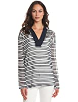 Michael Stars Women's Net Stripe 3/4 Sleeve Pullover Hoodie