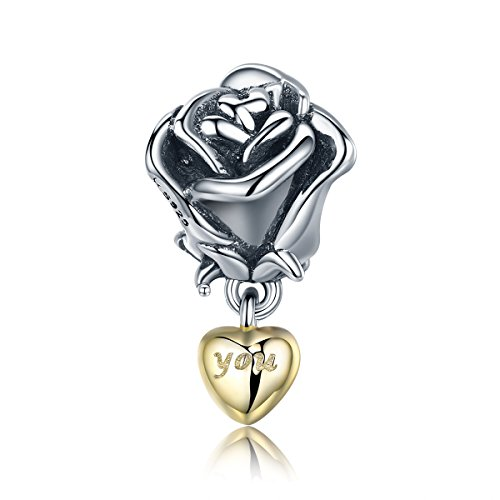 Everbling Blooming Rose Flower with You in Heart Dangle 925 Sterling Silver Bead for European Charm Bracelet (Rose Flower with You in Heart Dangle)