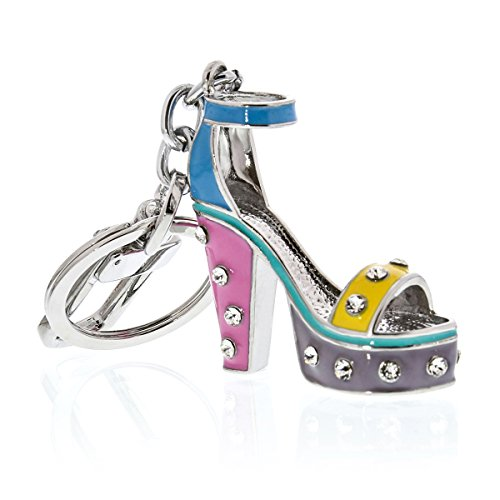 Adorable 3D sparkling disco dancing high-heel shoe key chain adorned with Swarovski crystals. Made of shiny Chrome coated metal with long lasting shine & color.