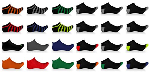 Men's Athletic Low Cut No show ankle Boat socks Ultimate Fashion Everyday Casual Athletic Pack of 24 Assorted pairs by J&S Apparel