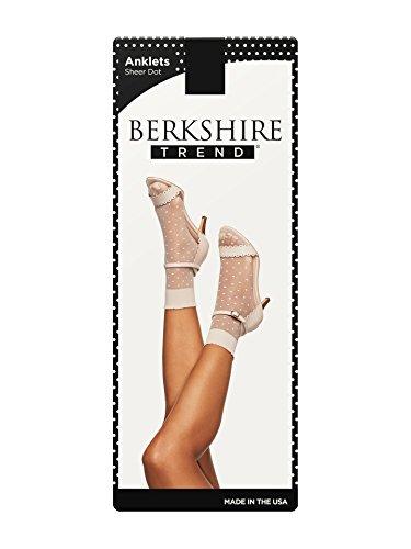Berkshire Women's Dot Anklet Sock with Scalloped Top, Black, Regular (Shoe Size 6-9) (Anklet Sheer)