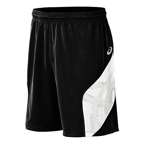 ASICS Men's Team Performance Volleyball Shorts, Black/White, Small