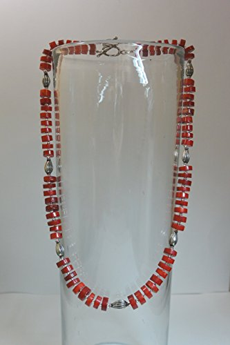 Red Coral & Handmade Silver Bead Necklace
