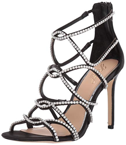 Badgley Mischka Jewel Women's Delancey Heeled Sandal, Black Satin, 10 M US