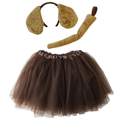 So Sydney Kids Teen Adult Plus 2-3 Pc Tutu Skirt, Ears, Tail Headband Costume Halloween Outfit (M (Kid Size), Puppy Brown) -