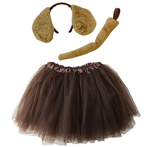 So Sydney Kids Teen Adult Plus 2-3 Pc Tutu Skirt, Ears, Tail Headband Costume Halloween Outfit (M (Kid Size), Puppy Brown)]()