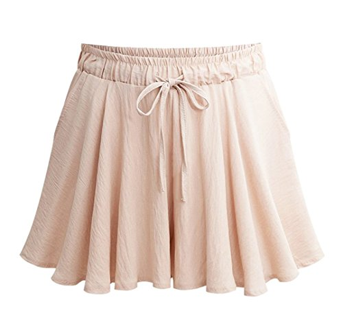 Vcansion Summer Elastic Waist A-Line Culottes Wide Leg Loose Shorts for Women