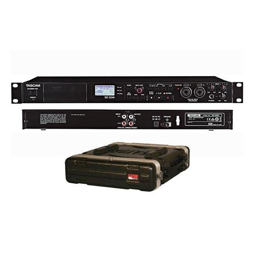 Tascam SD-20M 4-Track Solid-State Recorder - With Gator Cases GR-2L Standard Rack Case, 2U, 19'' Deep