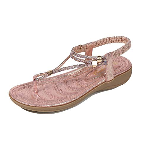 - ANJUNIE Bohemia Bow Summer Women Slides Ladies Crystal Flat Sandals Beach Peep Toe Casual Shoes(2-Pink,37)