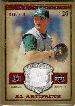 2006 Artifacts AL/NL Artifacts Red #SKA Scott Kazmir Game-Worn Jersey Card Serial #'d/250