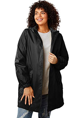 Woman Within Women's Plus Size Hooded Slicker Raincoat
