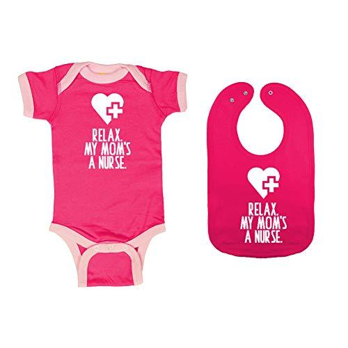 Mashed Clothing - Relax. My Mom's A Nurse. - Baby Ringer Bodysuit & Premium Bib Gift Set (Hot Pink/Pink Ringer, Hot Pink Bib, Newborn) ()