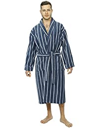 Threadneedle Men's Bathrobe, Luxury Velour Towel Robe Egyptian Cotton in Blue and White