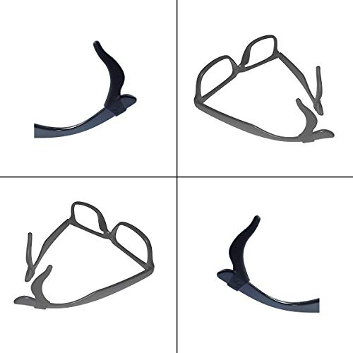 Keepons Primestretch Black Prevent Eyeglass Slipping Anti Slip Anti Slide Eyewear Sunglasses Spectacles Glasses Temple Tips Sports Ear Hooks Sleeves Retainer (5 Pairs)