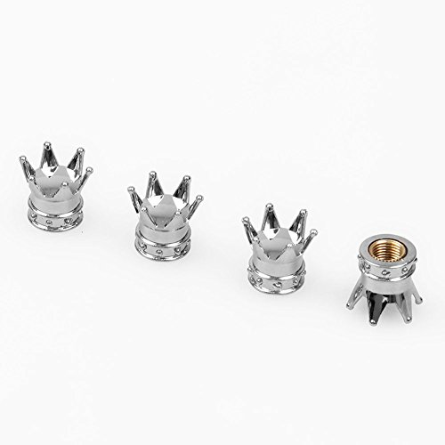 NEW POWER 4x Crown Design Antirust Copper Core Car Tires Valve Auto Car Wheel Tire Air Valve Caps Stem Air Dust Cover (Silver)