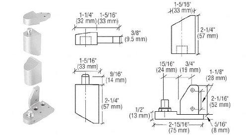 CRL Offset Satin Aluminum Right Hand Pivot Set 1/8'' Recessed