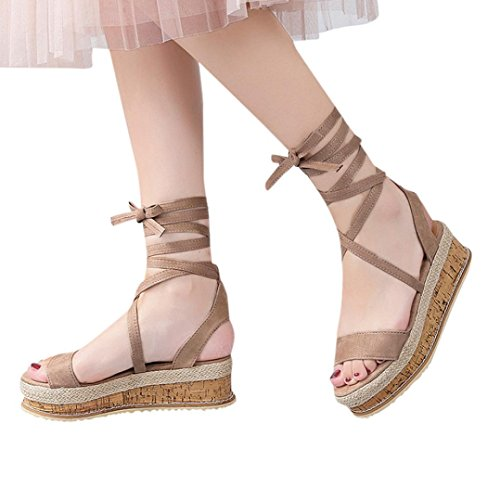 Sandalen Damen,Binggong Damen Damen Römer Schuhe Plattform Gewebt Dick-Unten Wasserdicht Keil Sandalen Kreuzband Dicker Bodenkeil Einzelne Schuhe Braun