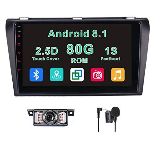 Brosmartek Android 8.1 Car stereo 2G RAM 80G ROM 9 Inch for Mazda 3 2004 2005 2006 2007 2008 2009 Ouad Core GPS Car Navigation 1S FastBoot