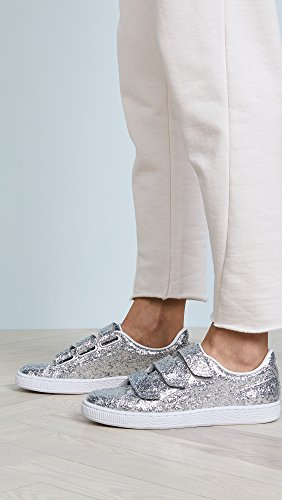 PUMA Women's Basket Strap Glitter Sneakers, Silver/Silver, 6 B(M) US