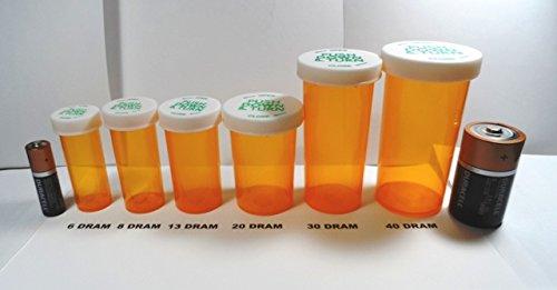 Plastic Prescription Vials/Bottles 50 Pack w/Caps SMALLEST 6 Dram Size-NEW