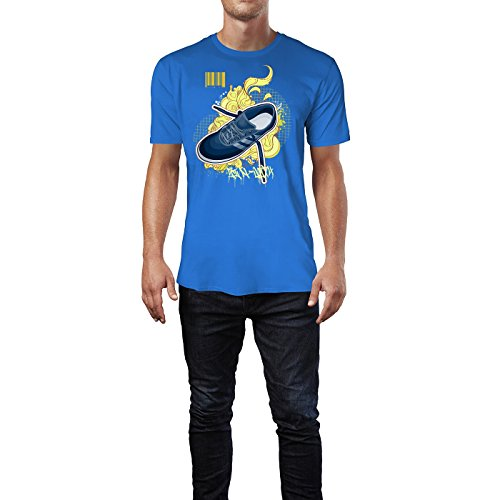 SINUS ART ® Blauer Turnschuh mit Ornamenten Herren T-Shirts in Blau Fun Shirt mit tollen Aufdruck