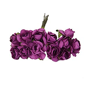 144pcs Artificial Paper Rose Flower Buds Mini Bouquet Party Decor- Purple 89