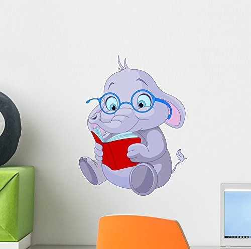 Wallmonkeys Cute Elephant Education Wall Decal Peel and Stick Graphic (12 in H x 9 in W) WM171971