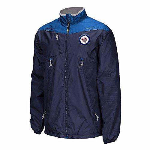Reebok Winnipeg Jets NHL Navy Blue Authentic Center Ice Rink Full Zip Performance Jacket For Men (4XL)