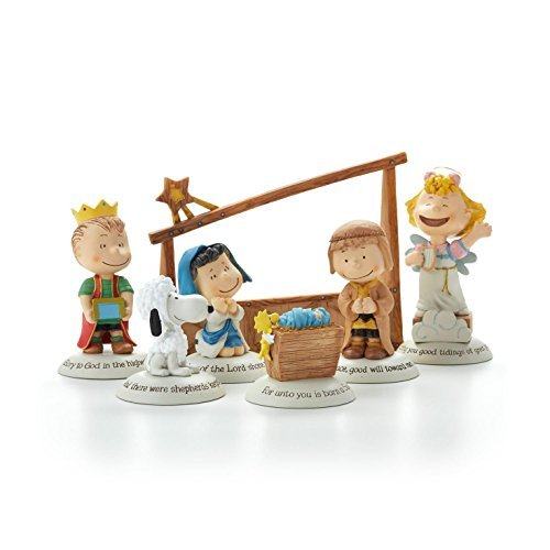 Hallmark 2014 Glad Tidings Nativity Peanuts Gallery Figurines - Set of 7 - XKT2422 by Hallmark