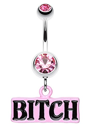 BITCH' Engraved Belly Button Ring - 14 GA (1.6mm) - Light Pink - Sold Individually