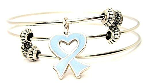 ChubbyChicoCharms Prostate Cancer Heart Shaped Awareness Ribbon Expandable Wire Triple Style Bangle Bracelet, 2.5