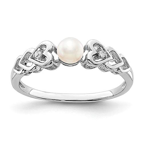 (Sterling Silver 2 MM FW Cultured Pearl and Diamond June Birthstone Ring, Size 5)