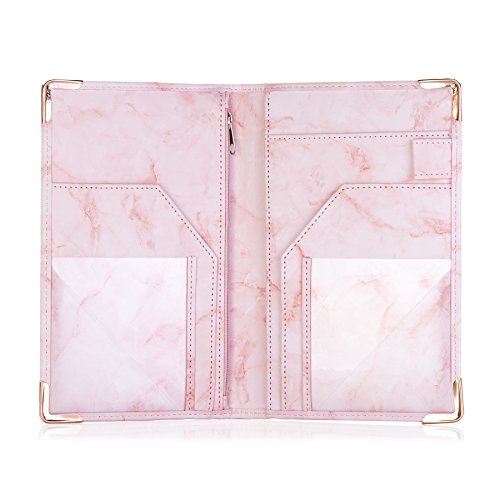 Sonic Server Marble Style Deluxe Server Book for Restaurant Waiter Waitress Waitstaff | Millennial Pink | 9 Pockets includes Zipper Pouch with Pen Holder | Holds Guest Checks, Money, Order Pad by Sonic Server (Image #3)'