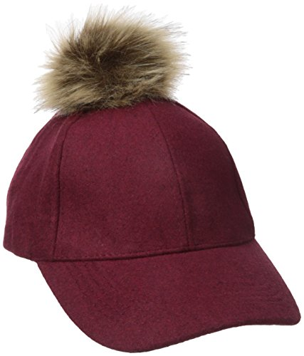 RAMPAGE Women's Winter Hat with Faux Fur Pom, Marsala, One Size