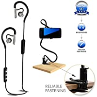 Bluetooth Headphones by Skyeyeye, Wireless Bluetooth Headphones with Mic, Cell Phone Holder black, Best Earbuds with Noise Canceling, Waterproof and Sweat Resistant Auriculares