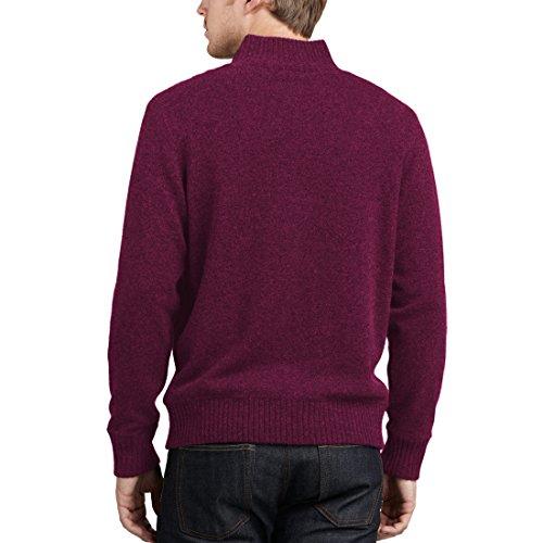 Parisbonbon Men's 100% Cashmere Mock Neck Cardigan Color Burgundy Size 1X by Parisbonbon (Image #1)
