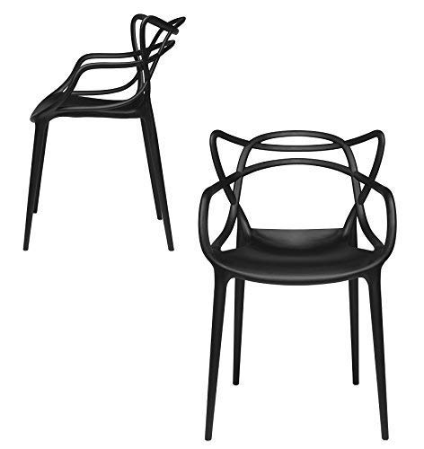Set of 2 - Masters Entangled Chair Replica - Modern Designer Armchairs for Dining Rooms, Offices and Kitchens (Black) (Stack Chair Designer)