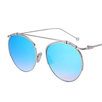 LXKMTYJ Reflektierend Sonnenbrille weiblich runde Persönlichkeit Sonnenbrillen Gesicht Metal Box feine Beine rund, der Himmel ist blau