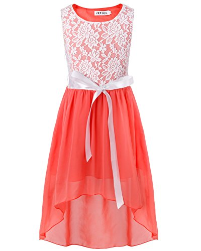 iEFiEL Big Girls Kids Lace Flower High Low Chiffon Dress Wedding Bridesmaid Gown Coral Pink 10
