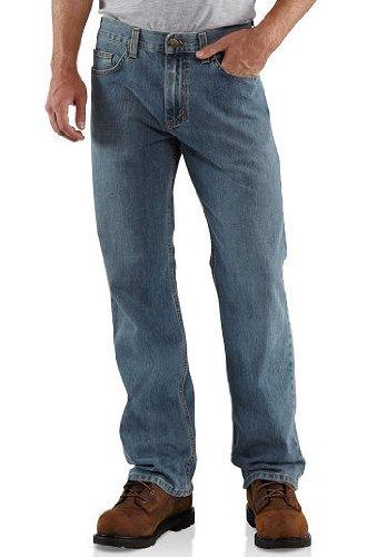 Worn Jeans Five Pocket Jeans - Carhartt Men's Loose Straight Denim Five Pocket Jean,Worn In Blue,32 x 30