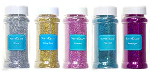 (KittyKraft 5 Piece Extra Fine Glitter Set (Holographic Collection)- Includes Silver, Gold, Pink, Blue, and Purple Holographic Glitter- Perfect for Crafts and Slime)