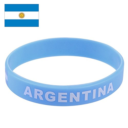 Argentina Flag Silicone Bracelet FIFA World Cup 2018 For Soccer Fan, Unisex Design, Soft and Durable Wristband for National Football Supporters Fans, Fashion Sport Wrist Strap Souvenir Gift TDoperator ()