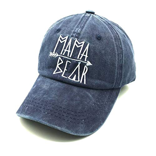 Distressed Logo Cap - Waldeal Embroidered Mama Bear Vintage Distressed Baseball Dad Hats Cap Grateful Thankful Gift for Mom Grandma Navy