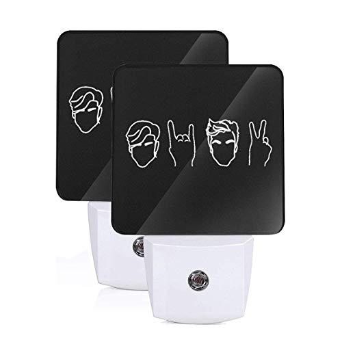 Dolan Twins Stone Scissors LED Night Light Lamp Bed Lamp Set of 2 with Dusk to Dawn Sensor