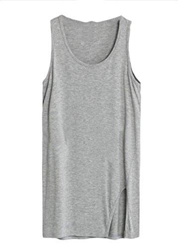 会計士別々に必要AngelSpace 女性のtシャツのサイズ固体分割薄ミッドロングタンクトップをプラスして