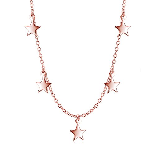 Dangling Stars Choker Necklace - Rose Gold over Sterling Silver ()