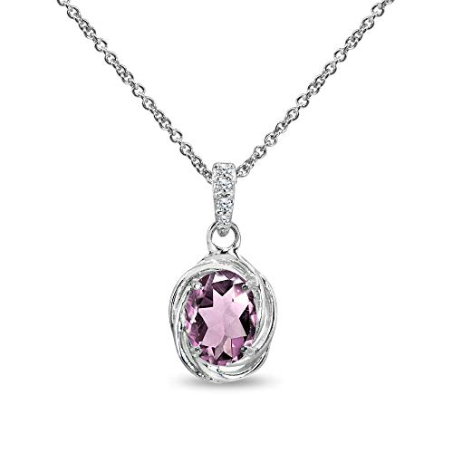 Sterling Silver Simulated Alexandrite & Cubic Zirconia 8x6mm Oval Love Knot Pendant Necklace