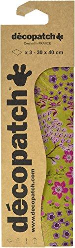 Decopatch C728O Papers 395x 298mm Pack of 3 Grün Bäume Pink Violett (Violett Grün)