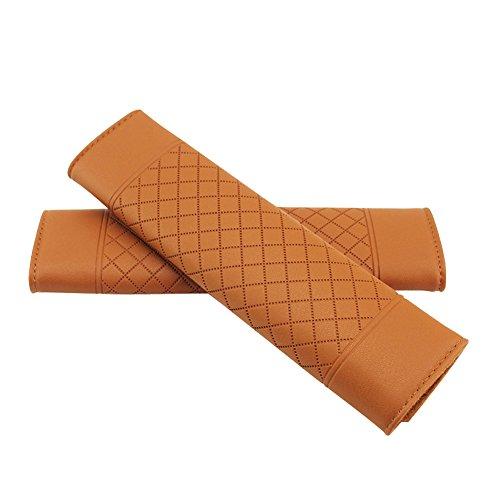 Encell PU Grid Seat Belt Pad Shoulder Strap,Brown
