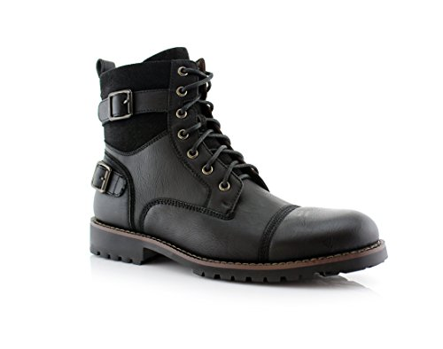 Polar Fox Patrick MPX808583 Mens Casual Cap Toe Buckle High-Top Motorcycle Work Biker Combat Boots – Black, Size 11
